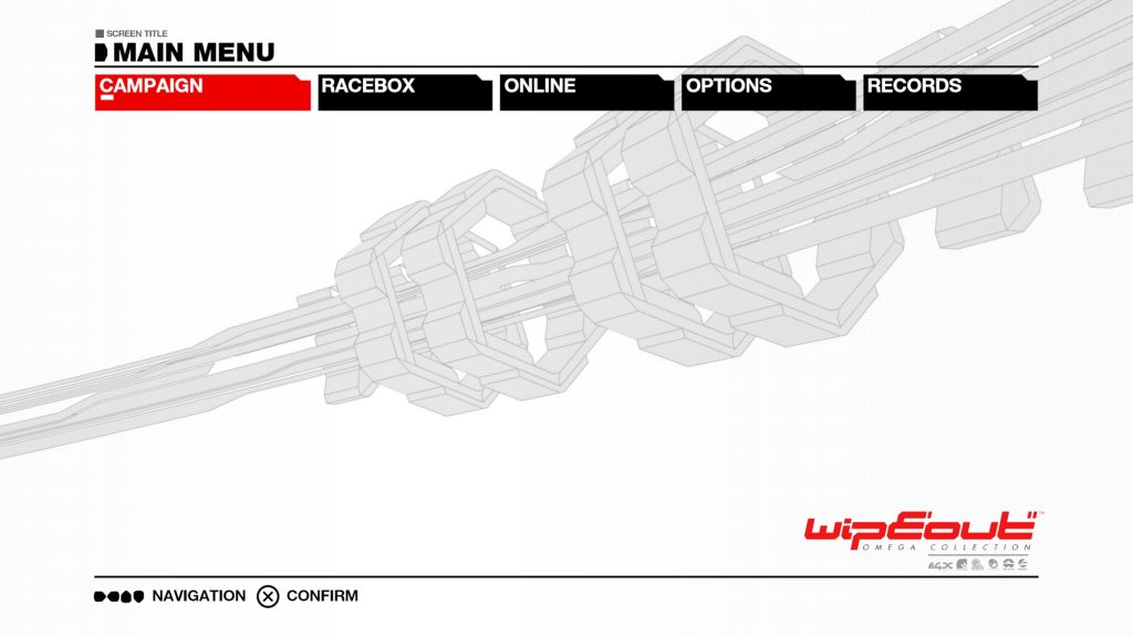 WipEout Omega Collection menu