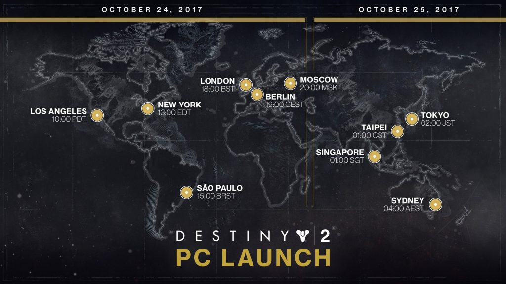 Destiny 2 PC release date Launch times around the world