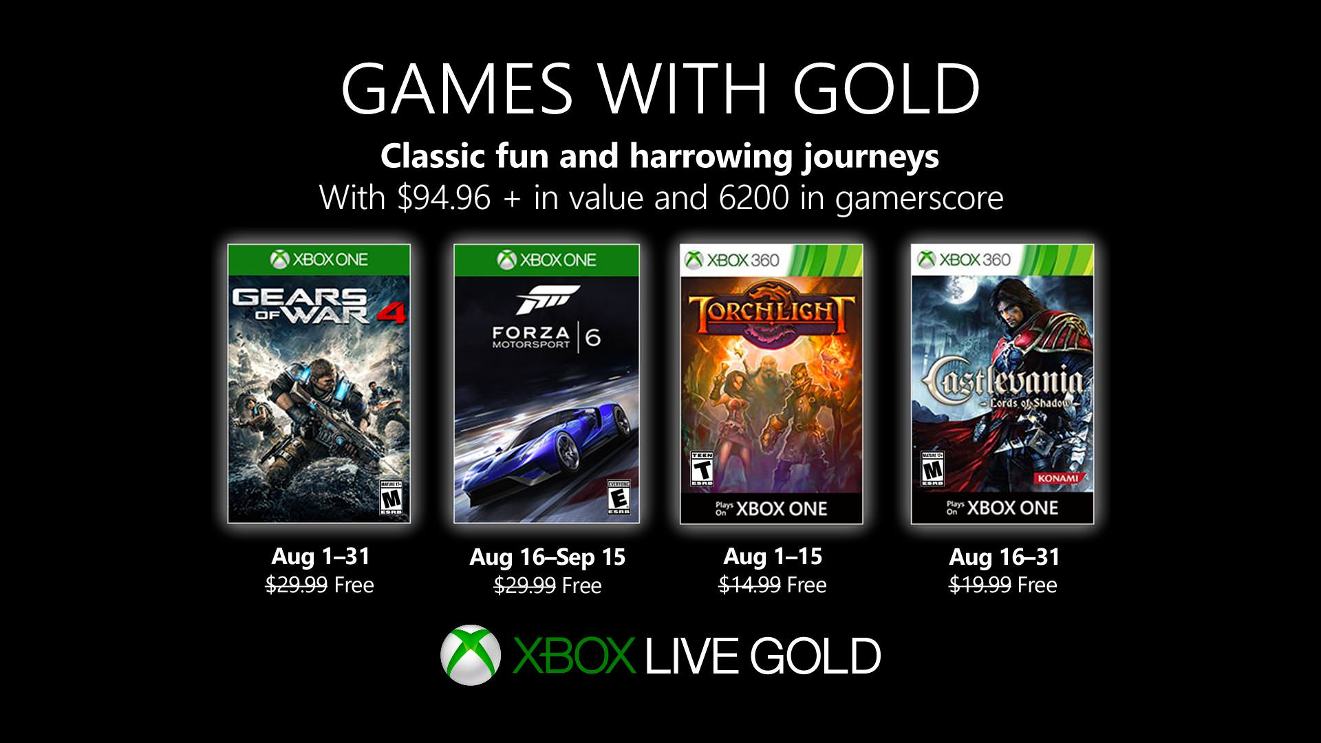 Xbox Games With Gold: August 2019 – Gears of War 4, Forza 6 and more